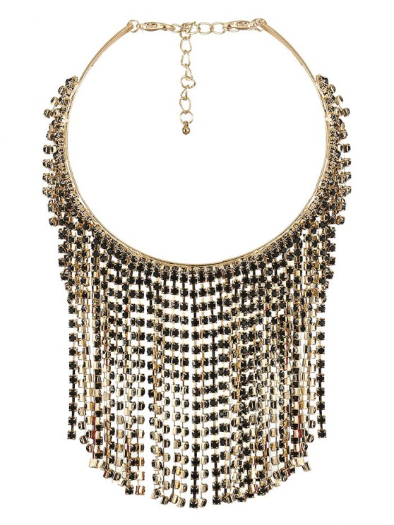 Rhinestoned Tassel Necklace - CHAMPAGNE  Mobile