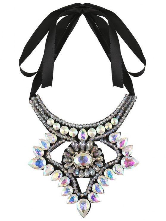 Faux Gem Ribbon Water Drop Necklace - COLORFUL  Mobile