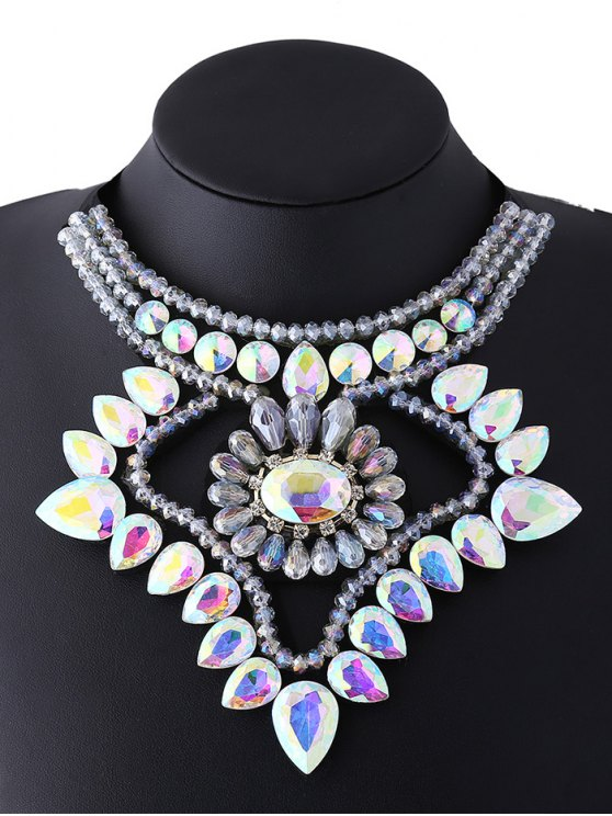 lady Faux Gem Ribbon Water Drop Necklace - COLORFUL