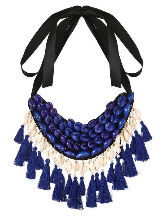 Ribbon Shell Tassel Necklace - BLUE  Mobile