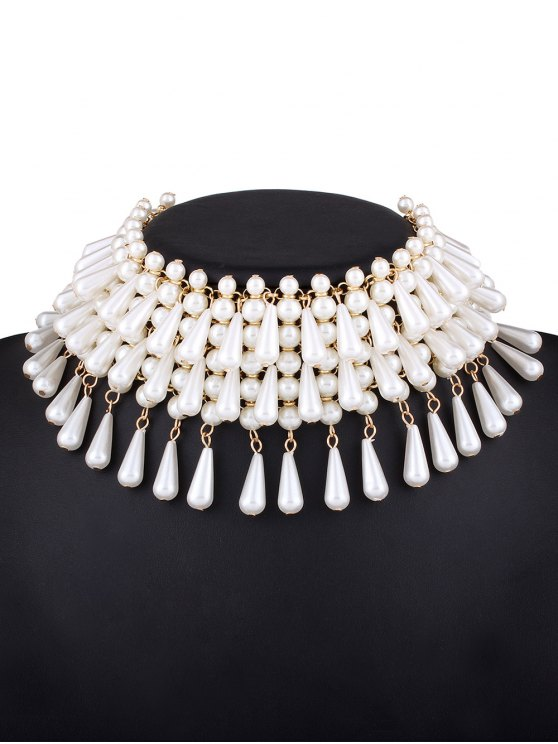 Teardrop Faux Pearl Layered Necklace -   Mobile