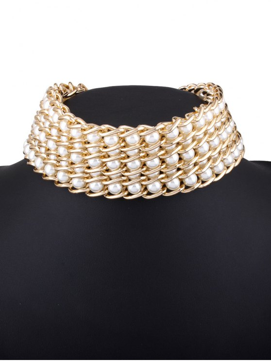 Faux Pearl Layered Necklace - WHITE  Mobile