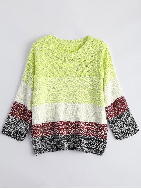 Suelta del bloque del color del suéter - Amarillo Fluorescente Única Talla