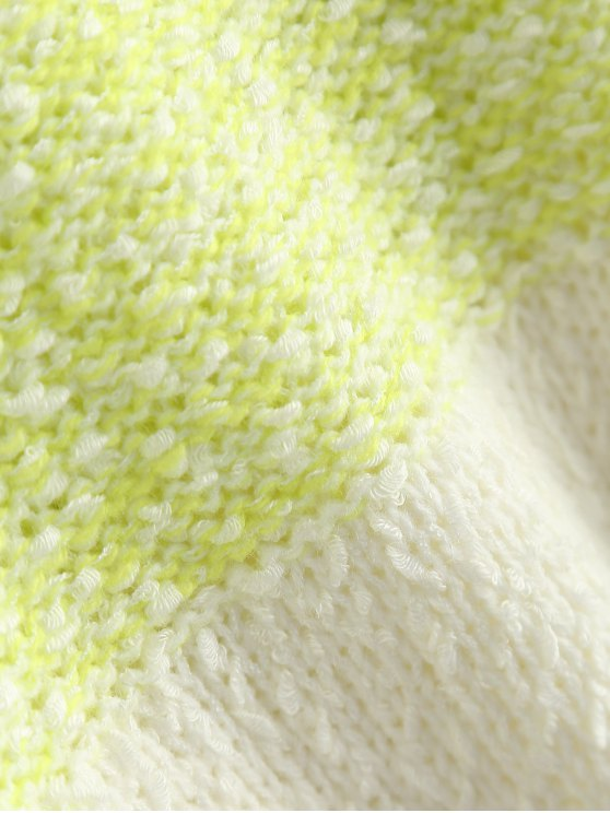 Loose Color Block Sweater - FLUORESCENT YELLOW ONE SIZE Mobile