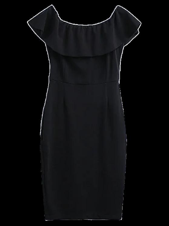 Off The Shoulder Ruffle Slit Work Dress - BLACK L Mobile