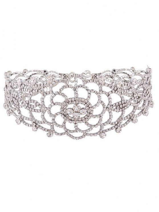 Hollow Out Rhinestoned Choker - WHITE  Mobile