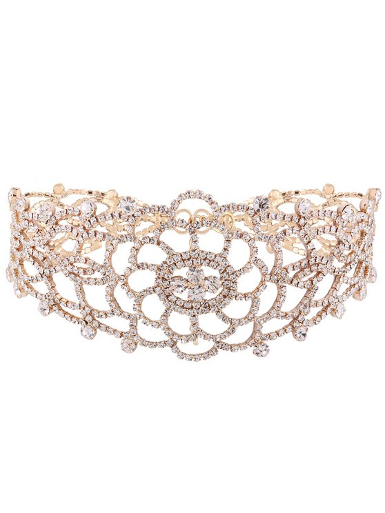 Hollow Out Rhinestoned Choker - CHAMPAGNE  Mobile