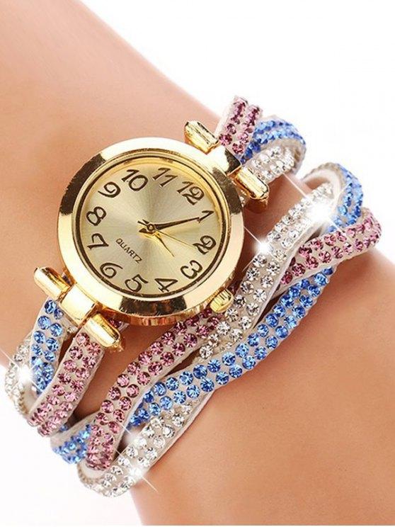 Rhinestone Studded Wrap Bracelet Watch - WHITE  Mobile