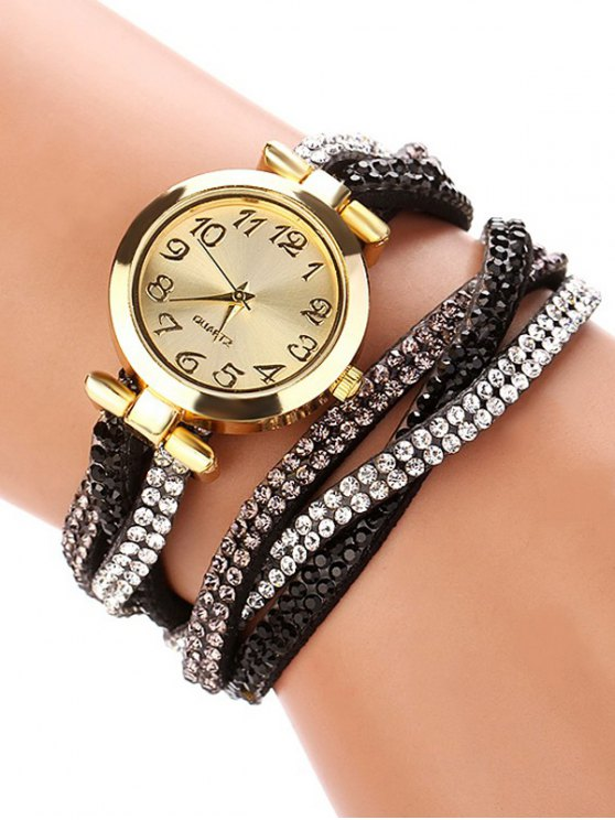 Rhinestone Studded Wrap Bracelet Watch - BLACK  Mobile