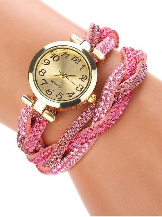 Rhinestone Studded Wrap Bracelet Watch - PINK  Mobile