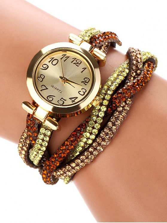 Rhinestone Studded Wrap Bracelet Watch - BROWN  Mobile