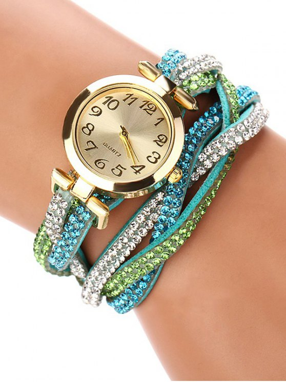 Rhinestone Studded Wrap Bracelet Watch - GREEN  Mobile