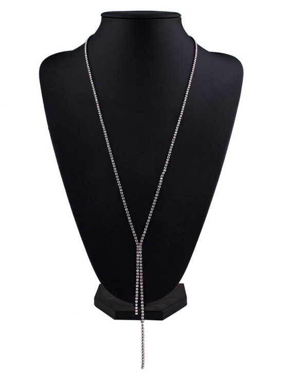 Rhinestoned Pendant Necklace - GUN METAL  Mobile