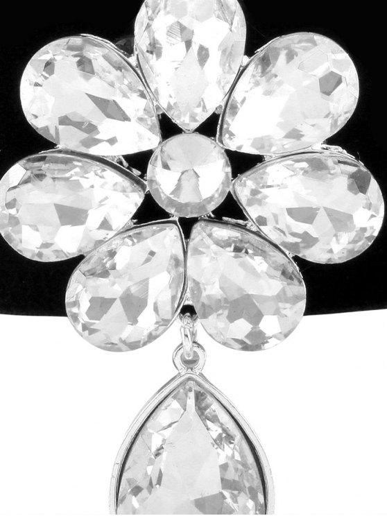 Velvet Rhinestone Floral Necklace -   Mobile