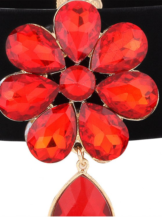 Velvet Rhinestone Floral Necklace - RED  Mobile