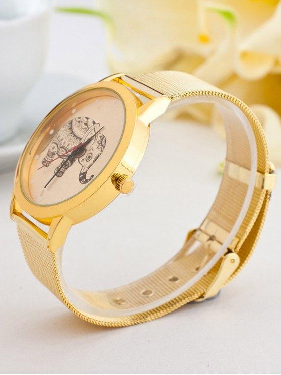 Metal Mesh Elephant Quartz Watch - GOLDEN  Mobile