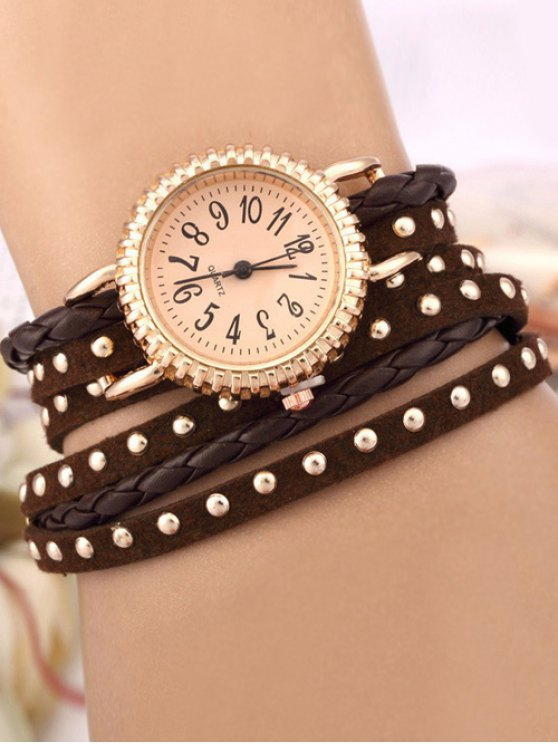 Rivet Studded Layered Bracelet Watch - BROWN  Mobile