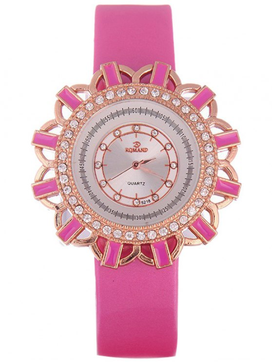 Faux Leather Flower Quartz Watch - TUTTI FRUTTI  Mobile