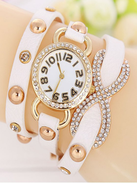 Rhinestone Infinite Wrap Bracelet Watch - WHITE  Mobile