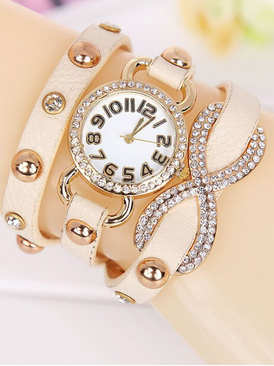 Rhinestone Infinite Wrap Bracelet Watch - BEIGE  Mobile
