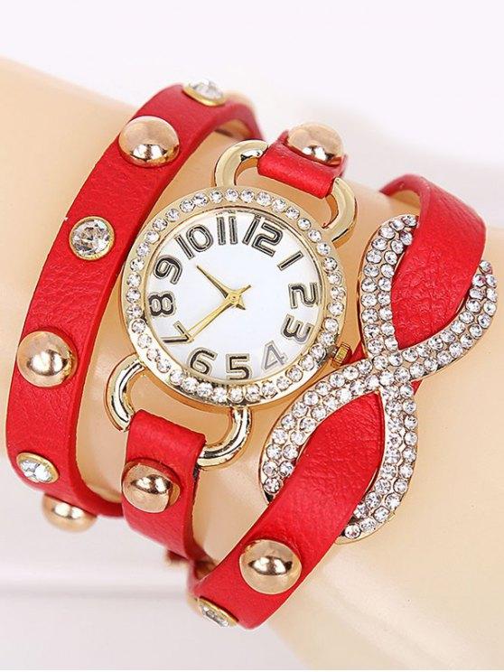 Rhinestone Infinite Wrap Bracelet Watch - RED  Mobile
