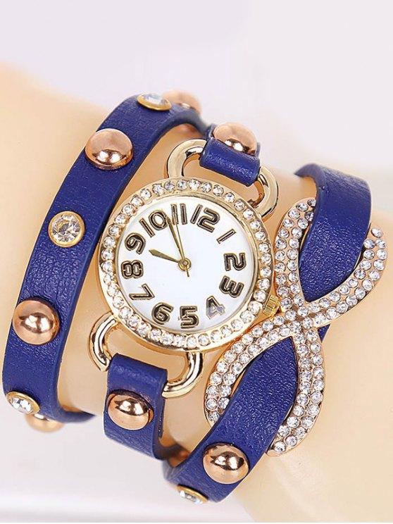 Rhinestone Infinite Wrap Bracelet Watch - BLUE  Mobile