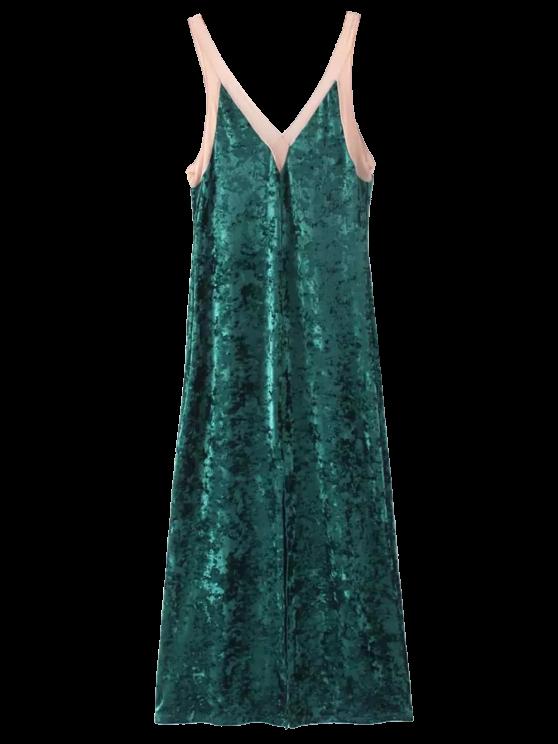 affordable Front Slit Crushed Velvet Maxi Tank Dress - DEEP GREEN ONE SIZE