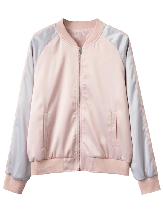 outfit Glossy Satin Bomber Jacket - PINK M