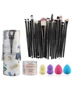 Makeup Brushes Kit + Makeup Sponges + Air Puffs - Black