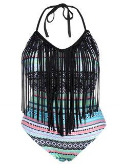 Tribal Print Plus Size Fringe Swimwear - 3xl