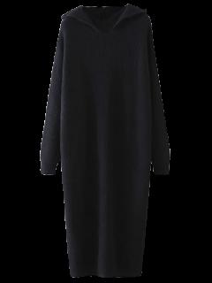 Robe Mi-longue Tricotée à Capuche  - Noir