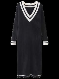 Robe Rayée à Col V - Noir
