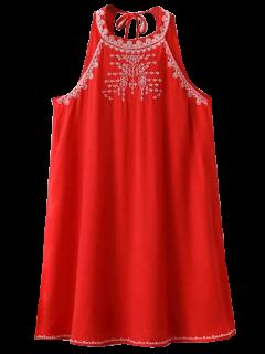 Robe Découpée Sans Manches à Broderie - Rouge L