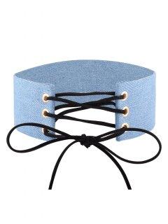 Adjustable Bowknot Denim Choker Necklace - #01
