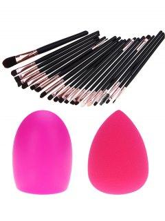 20 Pcs Eye Makeup Brushes + Makeup Sponge + Brush Egg - Black