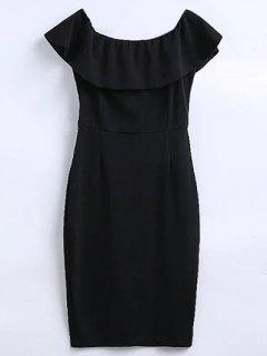 Off The Shoulder Ruffle Slit Work Dress - Black M