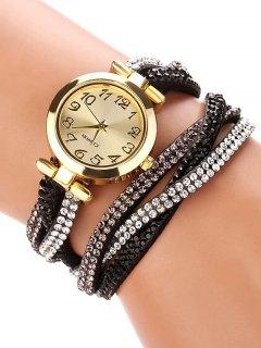 Rhinestone Studded Wrap Bracelet Watch - Black
