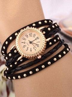 Rivet Studded Layered Bracelet Watch - Black