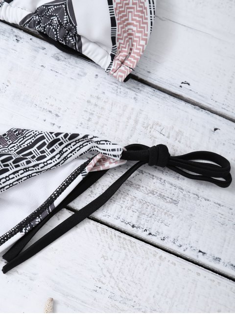 shop Geometric Tie Side Halter Bikini Set - MULTICOLOR M Mobile