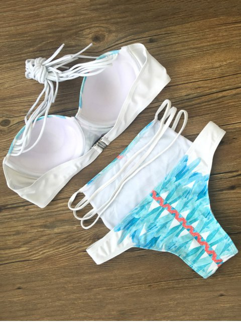 ladies Printed Strappy High Waisted Bikini Set - BLUE M Mobile