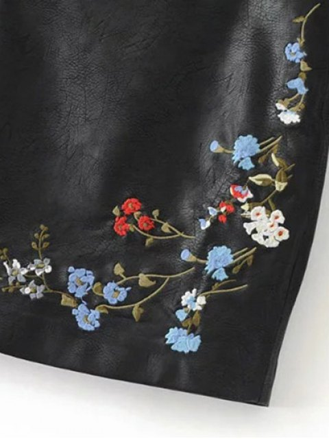 women Faux Leather Floral Embroidered Skirt - BLACK L Mobile