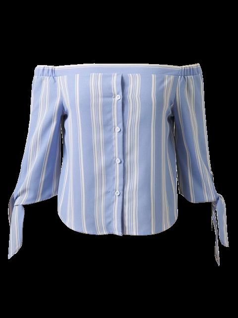 best Off Shoulder Tied Striped Blouse - LIGHT BLUE M Mobile