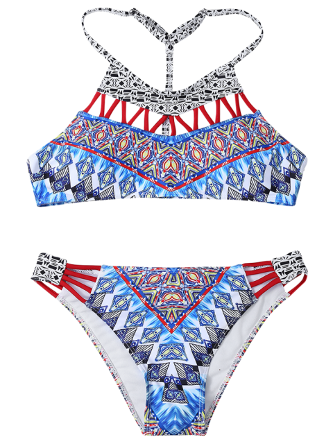 best Hollow Out T Back Printed Bikini Set - MULTICOLOR M Mobile
