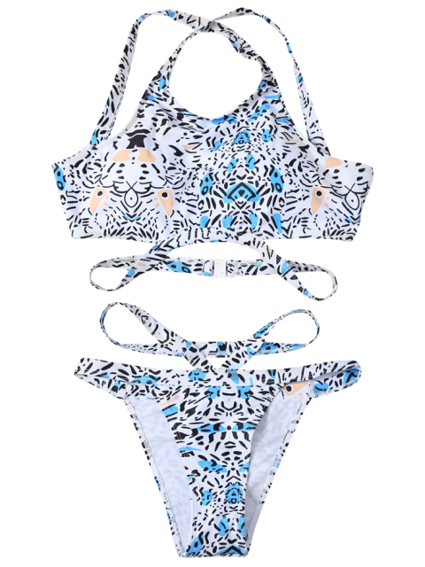 hot Bandage Leopard Print Bikini Set - WHITE M Mobile