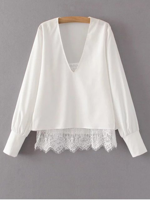 trendy V Neck Lace Camisole Panel Blouse - WHITE S Mobile
