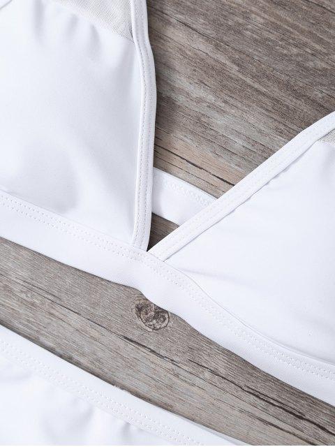 women Low Cut High Waist Sheer Bikini Swimsuit - WHITE L Mobile