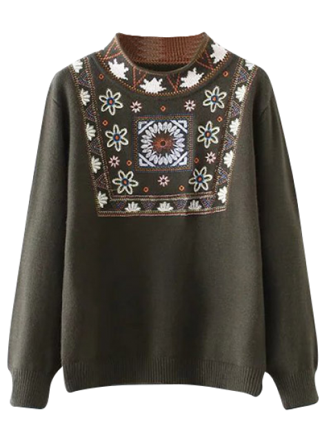 shop High Neck Graphic Sweater - ARMY GREEN ONE SIZE Mobile