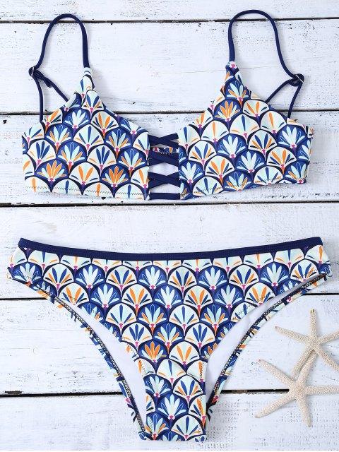 unique Criss Cross Cami Fish Scales Bikini Set - BLUE S Mobile