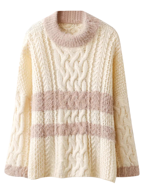ladies Color Block Cable Knit Sweater - OFF-WHITE ONE SIZE Mobile