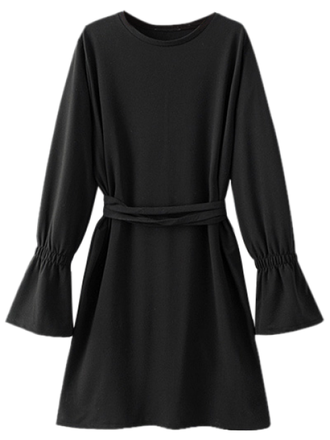 unique Bell Cuff Sleeve Tie Waist Dress - BLACK L Mobile